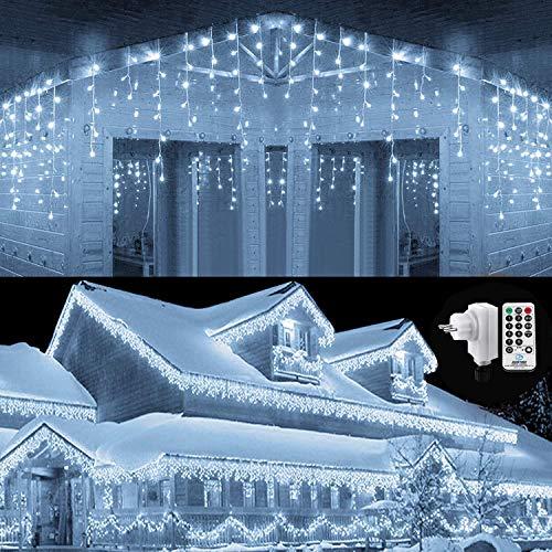 Qedertek 432 LED Lichterkette Eisregen Außen, 10.8M Weihnachtsbeleuchtung Lichtervorhang mit Steckdose, 8 Modi und 3 Timer Funktion und Dimmbar mit Fernbedienung, Deko Hochzeiten, Gartenpartys (Weiß)