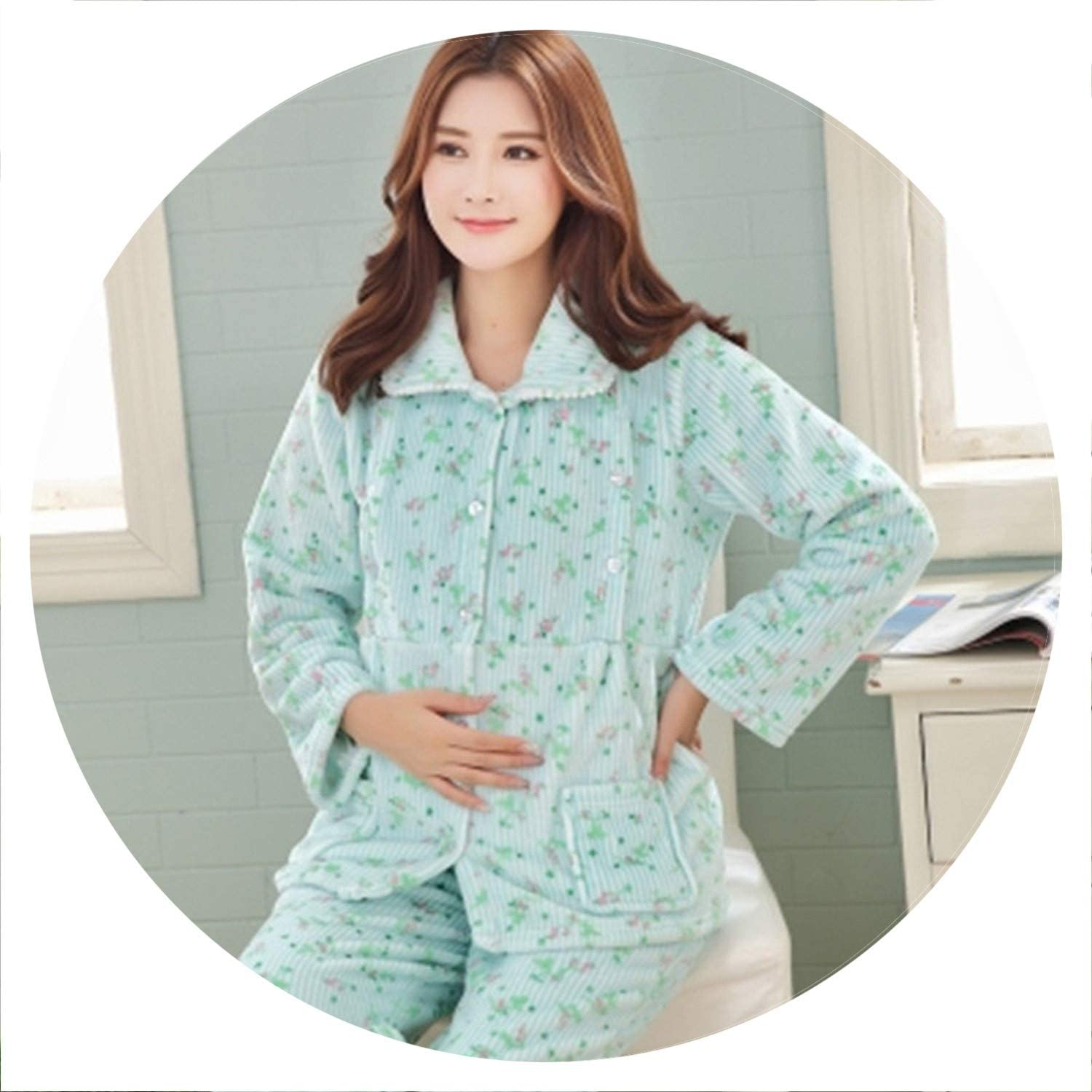 100Expectations Pregnant Pyjamas Polyester Full Trousers Lady Two Piece Print Warm Female Home Clothing Pajama Set