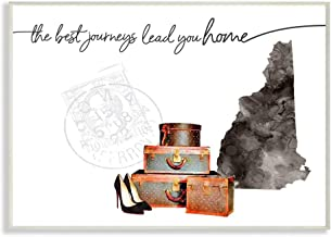 Stupell Industries New Hampshire State The Best Journeys Lead You Home Fashion Shoes and Luggage Illustration Oversized Wa...