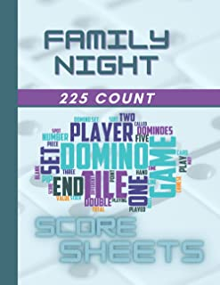 Family Night : Dominoes Score Sheets: Double 12 Works with Chicken Foot Mexican Train Dominoes Games Gift for Kids and Adults