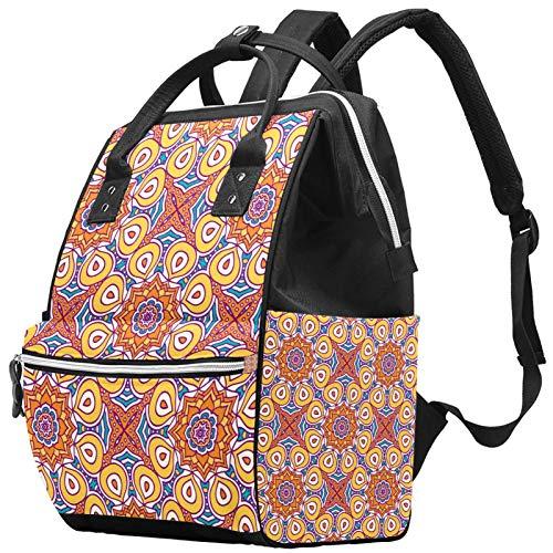 Mochila de viaje unisex con diseño de mandala de colores para portátil de hasta 14 pulgadas