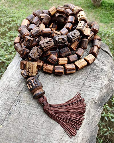 Divine Products India Gopi bhava 108 Bead Tulasi Hand Carved japa Mala