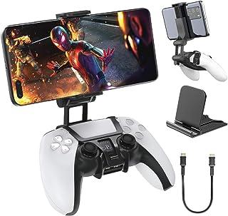 Suporte de clipe para celular com controle Ovo PS5, suporte duplo com clipe ajustável com suporte para telefone e cabo US...