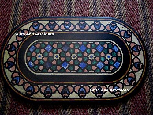 Gifts and Artefakte Ovalform, schwarzer Marmor, für Konferenztisch / Meetings, mit geometrischer Kunst, kann im Flurtisch verwendet werden, 61 x 102...