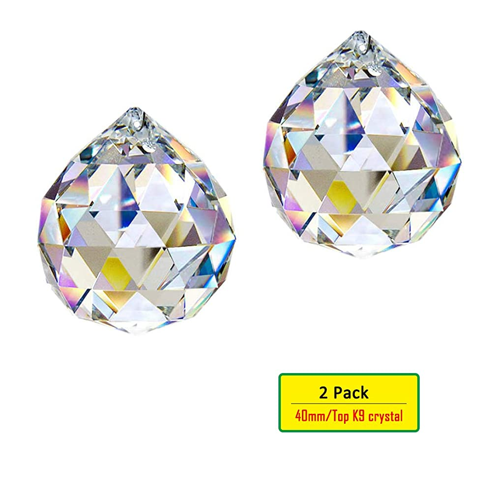 H&D 2pcs Clear Crystal Suncatcher for Window/Garden Hanging Chandelier Crystal Prism Ball - 40mm