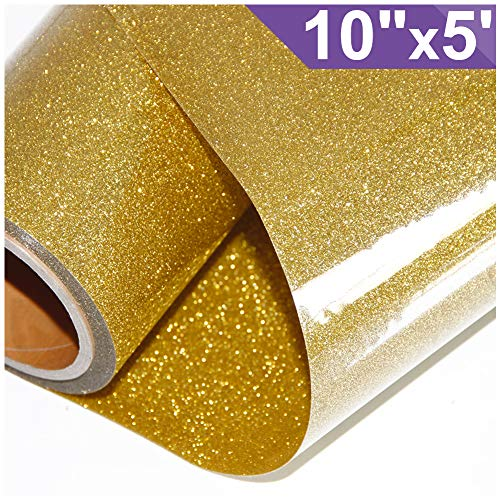 ARHIKY Glitter Heat Transfer Vinyl HTV for T-Shirts 10Inches by 5 Feet Rolls(Gold)