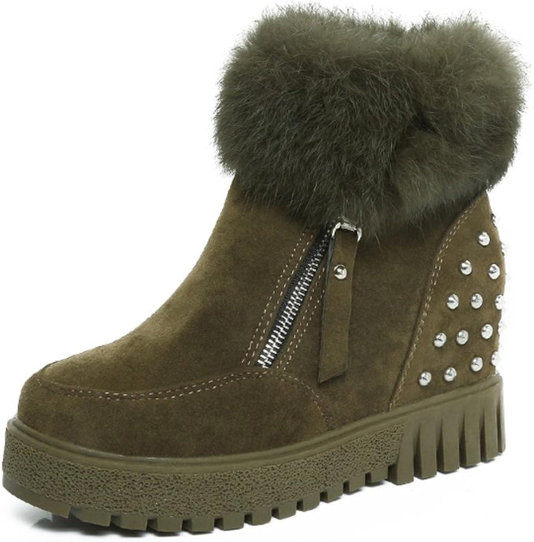 Huhuj Qiu Dong Ji Yinglun Martin Boots Thick-Soled Zipper Increase and Down to Keep Warm Snow Boots
