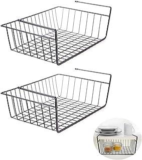 2Pcs Under Shelf Basket, Multifunctional Cabinet Storage Shelf Wire Basket Organizer for Kitchen Pantry Cabinet Closet (Bl...