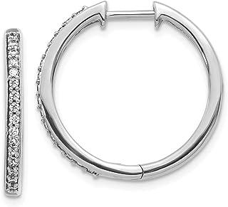 14k White Gold Diamond Hoop Earrings Ear Hoops Set Fine Jewelry Gifts For Women For Her