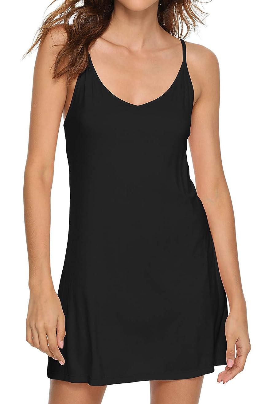 WiWi Women's Bamboo Full Slip Under Adjustable Spaghetti Strap Cami Mini Dress Basic Camisole Slip Dress S-4XL