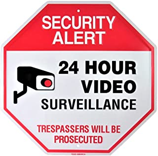 Video Surveillance Camera Yard Sign, Security Alert 24 Hour CCTV Monitor Warning, Large 11.5 x 11.5 Inch Indoor Outdoor Rust Free Aluminum Metal for Home or Business