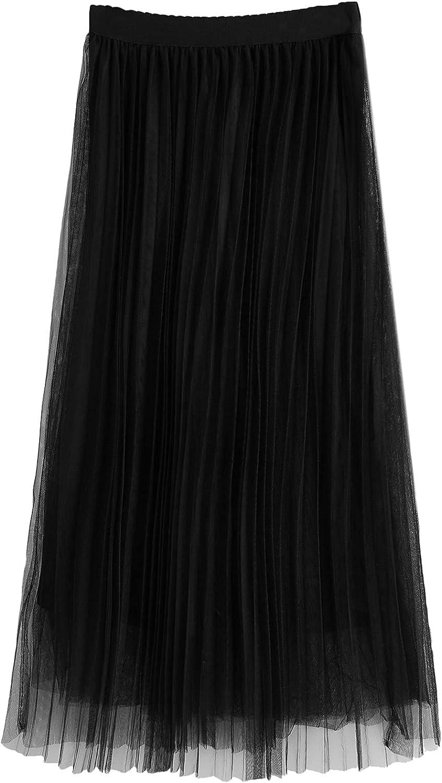 MakeMeChic Women's Mesh Pleated Hem High Waist A Line Long Skirt