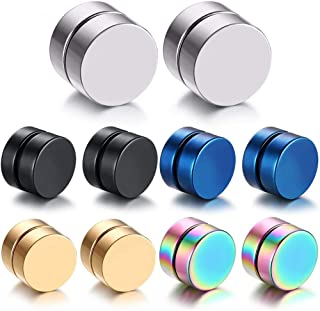 TUQIA 10MM Magnetic Gauge Stainless Steel Clip on Fake Stud Earrings for Men Women Gilrsfor Boys Pack of 5 Different Color...
