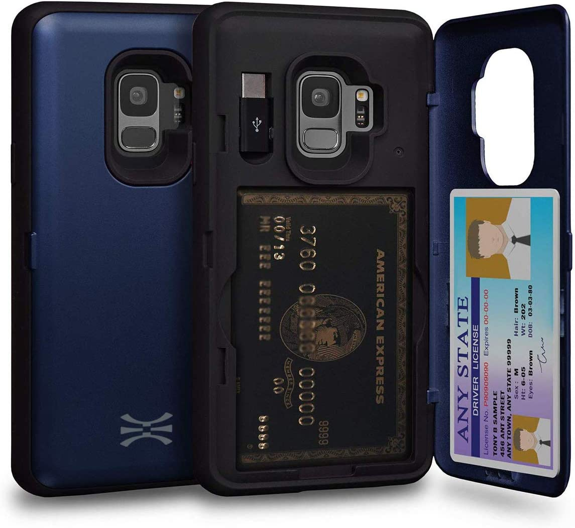 TORU CX PRO Compatible with Samsung Galaxy S9 Wallet Case - Protective Dual Layer with Hidden Card Holder, ID Slot Hard Cover Mirror & USB Adapter - Navy Blue