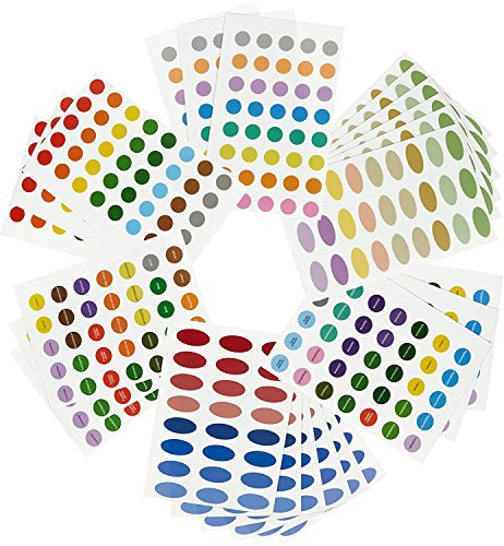 756 Essential Oil LabelsAromatherapy Labels - Color Coded Bottle Labels Includes Blank and Pre-Printed - Small Oval Shaped Labels -Multicolor - 24 Sheets of Stickers