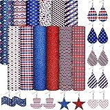 12 Stück Amerikanische Flagge Kunstleder Blätter, Glitzer