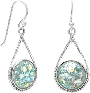 Sterling Silver French Wire Teardrop Earrings, 11mm Ancient Roman Glass, 1 inch