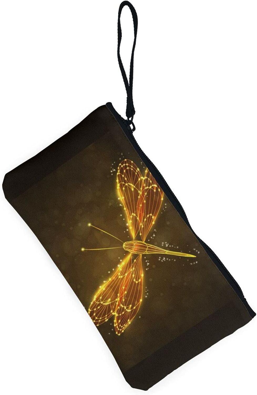 AORRUAM Abstract yellow Dragonfly Canvas Coin Purse,Canvas Zipper Pencil Cases,Canvas Change Purse Pouch Mini Wallet Coin Bag