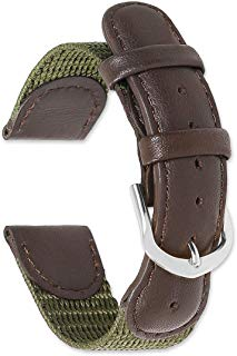 deBeer Swiss Army Style Watch Strap Watch Band - Sizes: 16mm, 18mm, 19mm, or 20mm - Colors: Black, Brown, or Olive