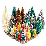 Belupai - Juego de 40 mini árboles de cedro coloridos para nieve con base de madera y cepillo para botella de árboles, plástico, invierno, nieve, decoración de escritorio