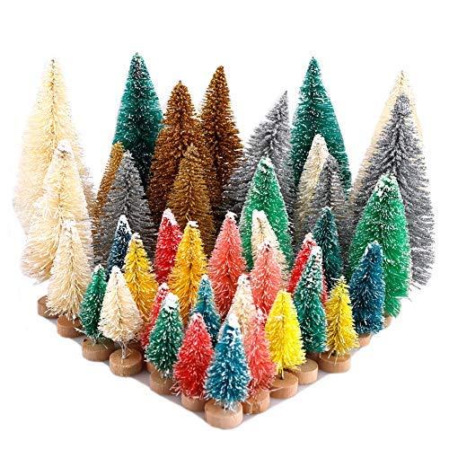 Takefuns - Juego de 40 mini árboles de cedro coloridos para nieve con base de madera para botella de árboles, plástico, invierno, nieve, decoración de escritorio, artículos para fiestas