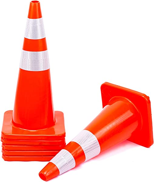 6 Cones 28 Orange Traffic Safety Cone With Reflective Collar Road Packing PVC Plastic Set Of 6