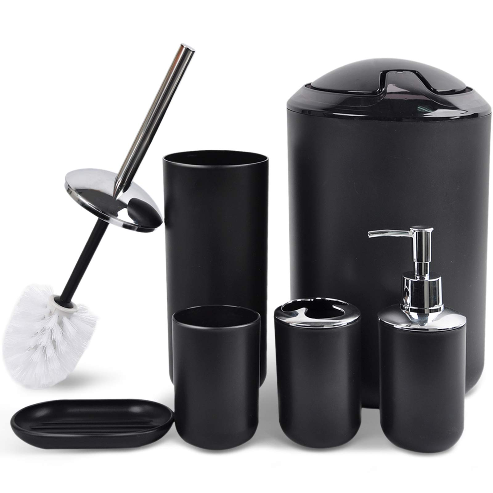 Amazon Com Cerbior Bathroom Accessories Set 6 Piece Bath Ensemble Includes Soap Dispenser Toothbrush Holder Toothbrush Cup Soap Dish For Decorative Countertop And Housewarming Gift Black Home Kitchen