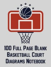 100 Full Page Blank Basketball Court Diagrams Notebook: Full Page Basketball Court Diagrams for Plays and Drills (8.5x11)