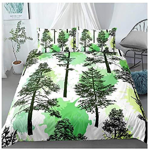 BAIYANG Plants Palm Leaves Bedding Sets Single Queen King Size Duvet Cover Set Bed Linen Quilt Covers 2/3Pcs Super King(260x220cm)
