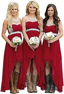 21dde40a5ae Beilite Sweetheart Hi-Lo Bridesmaid Dress Chiffon Long Party Gown