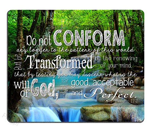 Christian Inspirational Quotes Bible Verses Scripture Mouse Pad, Do not Conform Any Longer to The Ways of This World but be Transformed by The Renewal of Your Mind