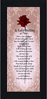 Ruby Anniversary, Ruby Wedding Anniversary Picture Frame, 40th Wedding Anniversary, 6x12 7776BC