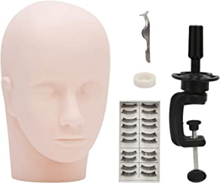 Makeup Doll Head for Cosmetology, With Mannequin Head, Mannequin Holder, 10 pairs of Eyelashes, Tweezer and Tape for Eyela...