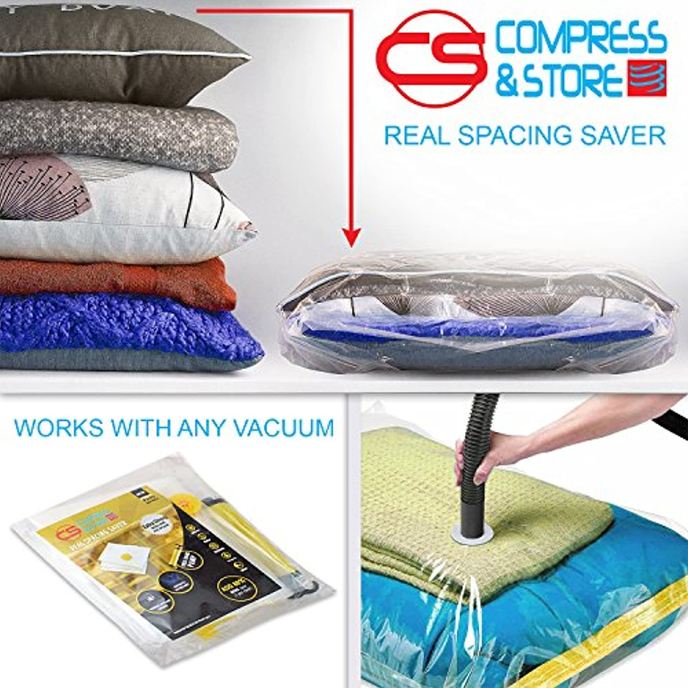 Compress & Store 30x40 Inch JUMBO - Superior Seals Vacuum Storage Bags (80% More Storage Than Leading Brands) Free Hand Pump For Travel! (5 Pack)