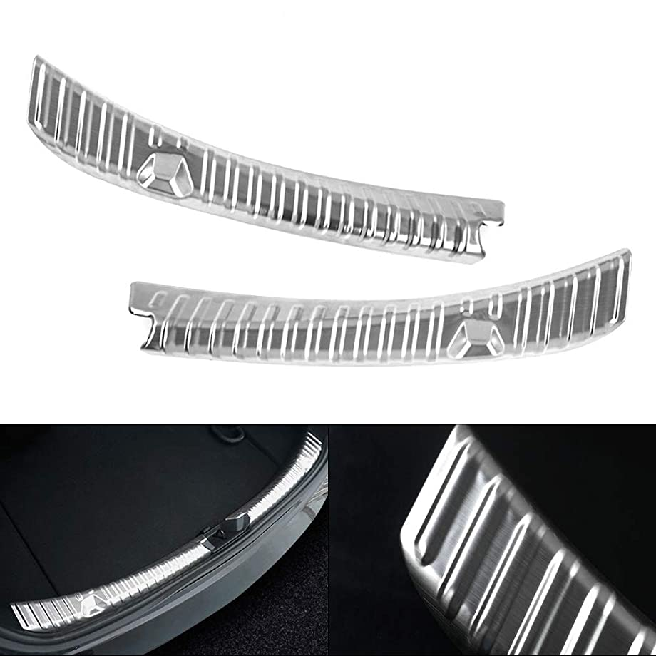 Mixsuper Rear Bumper Protectors Sill Trunk Guard,Inner Stainless Steel Chrome Trim Insert for Tesla Model 3