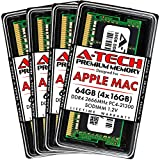 A-Tech 64GB Kit (4x16GB) DDR4 2666MHz RAM for Apple 2019 & 2020 iMac 27 inch Retina 5K (iMac19,1 iMac20,1 iMac20,2) | PC4-21300 SO-DIMM 260-Pin Memory Upgrade