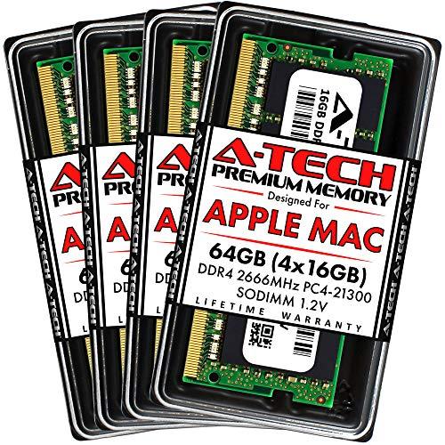 A-Tech 64GB (4x16GB) RAM for Apple iMac 2019 & 2020 27 inch Retina 5K | DDR4 2666MHz SODIMM PC4-21300 1.2V 260-Pin SO-DIMM Memory Upgrade Kit