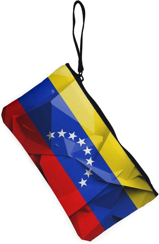AORRUAM Venezuelan flag Canvas Coin Purse,Canvas Zipper Pencil Cases,Canvas Change Purse Pouch Mini Wallet Coin Bag
