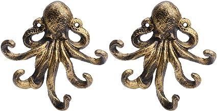 YARNOW 2 stks Octopus Decor Sleutelhouder Metalen Antieke Haak Retro Muur Hanger voor Thuis Badkamer Wandhanddoek Haak Nau...