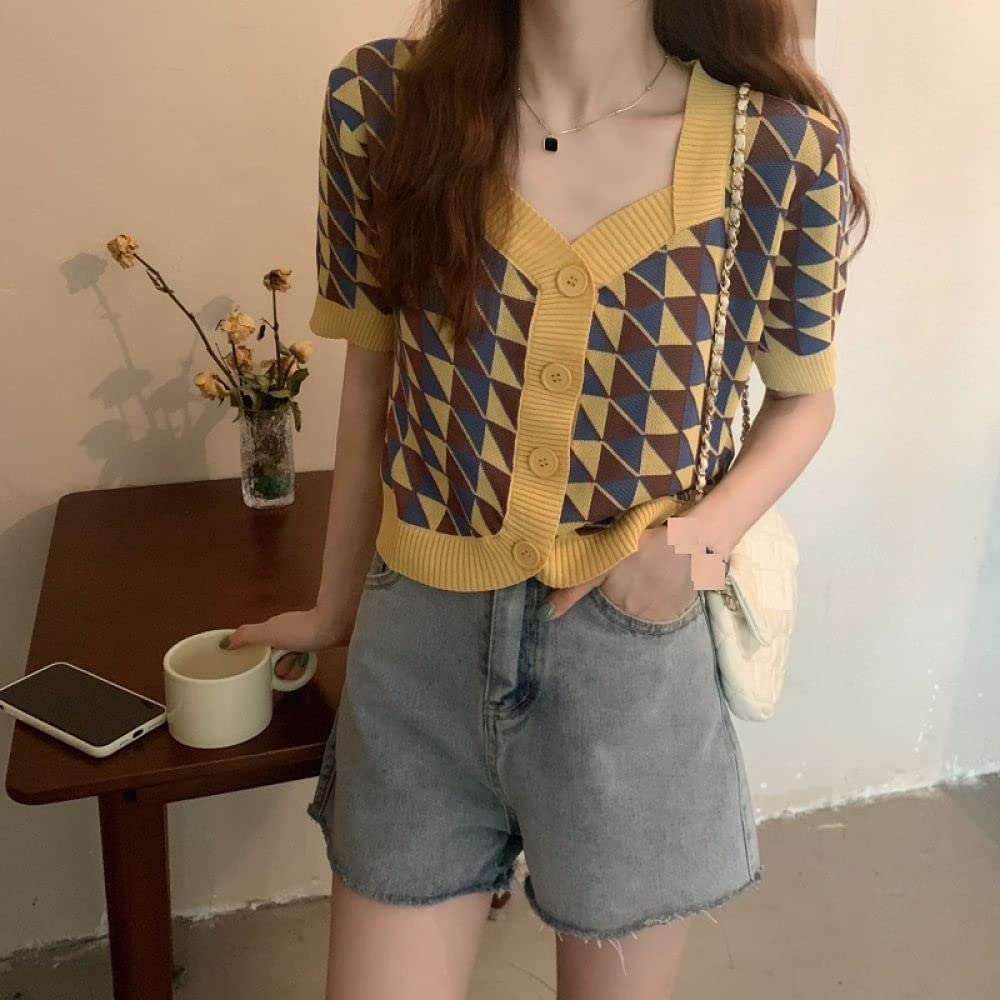 Cropped Sweater,Womens Sleeveless Sweater Vest Retro Color Contrast Argyle Plaid V Neck Knitted Cami Sweater Pullovers Preppy Style Casual Loose Knitted Tank Top Autumn Winter ,Yellow,One Size