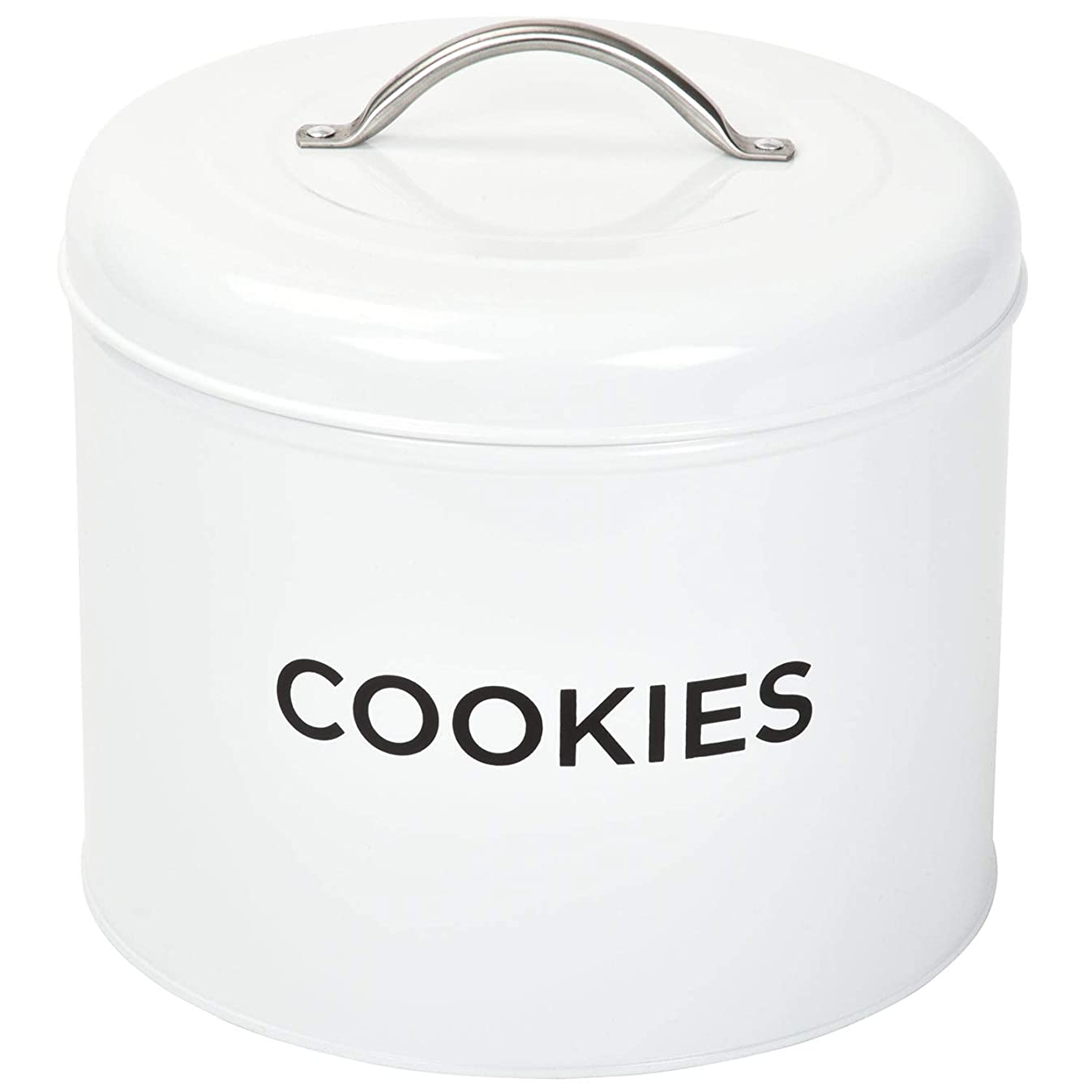 TIN COOKIE JAR By Spigo Great for Storing All Your Cookies and Delicious Treats, Durable Construction And Stylish Retro Design, 1.56 Gallons (White)