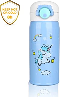 Outfun Kids Water Bottle, Unicorn Stainless Steel Thermos, Cute Water Bottle Cup, Insulated Vacuum Cup Flask for Boys and Girls School Kids Lunch Box Leak Proof BPA Free No Straw
