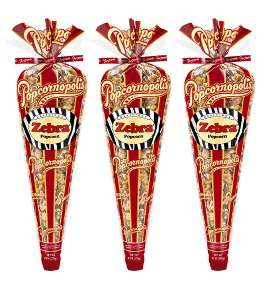 Popcornopolis Gourmet Selling and selling Popcorn - 3 Cones Stora Small Corn Zebra Max 78% OFF