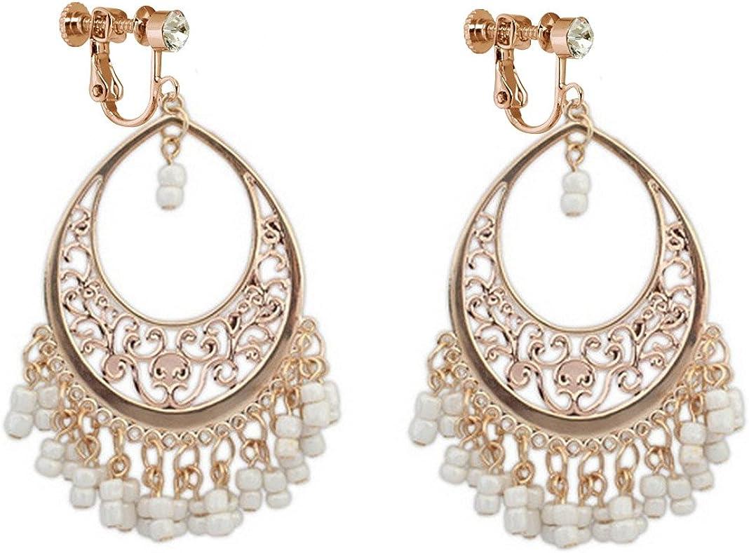 Bohemia Dangle Clip on Earring Tassel Boho Chandelier Drop Hoop Earrings Women Ladies Gold