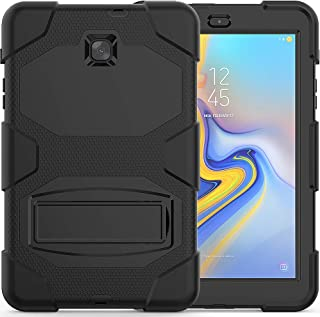 Galaxy Tab A 8.0 case 2018, Bingcok Heavy Duty Rugged Full-Body Hybrid Shockproof Drop Protection Cover with Kickstand for Samsung Galaxy Tab A 8.0 2018 Model SM-T387 Verizon/Sprint/T-Mobile (Black)