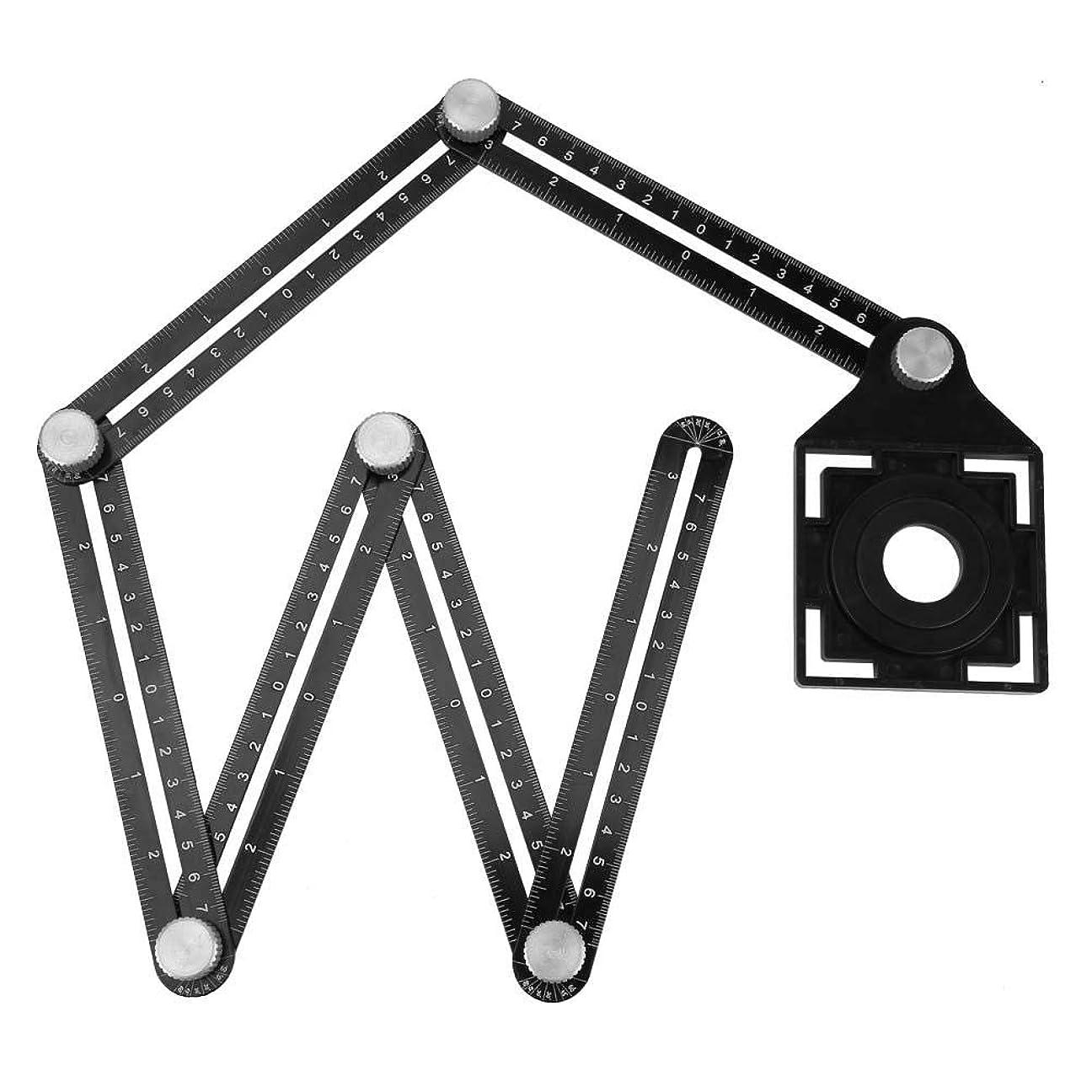 ハーフあたりこする6つ折りの定規、アルミ合金の陶磁器の穴のロケータ多角度の定規陶磁器のガラスタイルの穴のロケータはタイルの開始そして位置のために使用しました