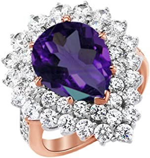 Sonia Jewels Sterling Silver Simulated Amethyst and Diamond Cat Pendant
