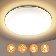Elfeland Lámpara LED de Techo Moderna 24W, Plafón LED Techo Baño Impermeable IP54 Equivalente 150W 2200LM 3000K Blanca Cálida Luz de Techo Led para Cocina Salón Dormitorio Balón Pasillo Comedor