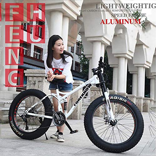 TRGCJGH Mountain Bikes, 26 Inches Hardtail Mountain Bicycle Dual Disc Brake Bicycle Foldable High Carbon Steel and Aluminum Alloy Frame,White-24speed