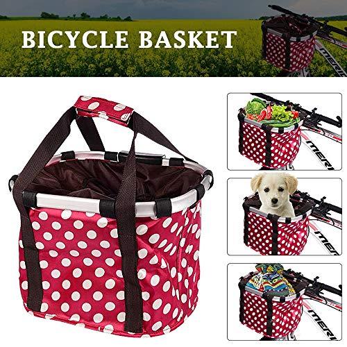 LLSS Transportín de Bicicleta para Mascotas,Cesta Bicicleta Delantera Desmontable,Cesta de Bicicleta Plegable para Compras de Alimentos,Picnic de Compras